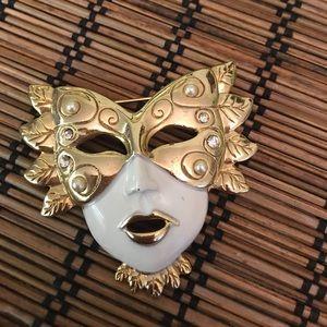 Mardi Gras Mask Pin Vintage